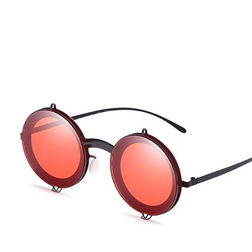 YUHANGH Metall Sonnenbrillen Steampunk Sonnenbrillen Herren Damen Persönlichkeit Mode Retro Vintage Runde Brillen Shades of Red