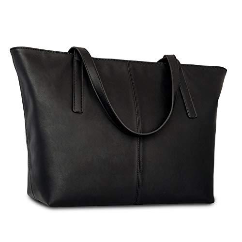 Expatrié Damen Handtasche Shopper Schultertasche Schwarz - Edle PU Ledertasche Unhängetasche Tragetasche Groß - Große elegante Tasche aus veganem Leder mit praktischen Fächern