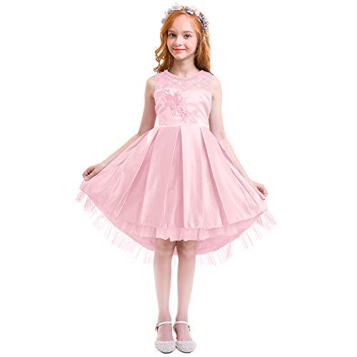 ef49a032c00f IBTOM CASTLE Vestito Ragazza Elegante Fiore Bambina Principessa Abiti per  Festa di Carnevale Comunione Cerimonia Damigella
