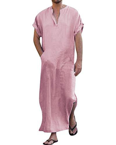 Jacansi Herren Kleider Kleidung Ethnisch Roben Lose Kurz Ärmel Dünn Jahrgang Kleid Kaftan Rosa DE 46 -