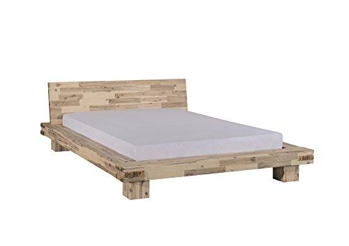 Modular, Akazienbett Lima, Vollmassiv, Weiß lasiert, 160x200 cm (Bett Kopfteil Rustikales)