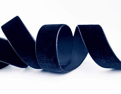 finemark Elastisches Samtband Dunkelblau (590) 1 m x 16 mm METERWARE Stretch Velour extrem dehnbar einseitig Samt 20% Elasthan zum nähen -