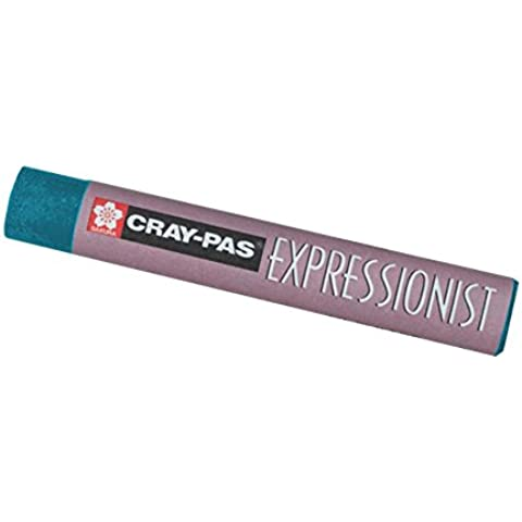 Cray-Pas expresionista en colores pastel azul-verde