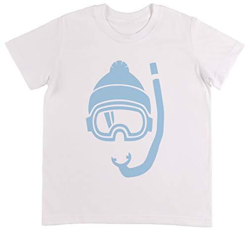 Snowboard 134cm (Schnorchel Tief Pulver Schnee Weiß T-Shirt Jungen Mädchen Größe M | Unisex Kids White T-Shirt Size M)