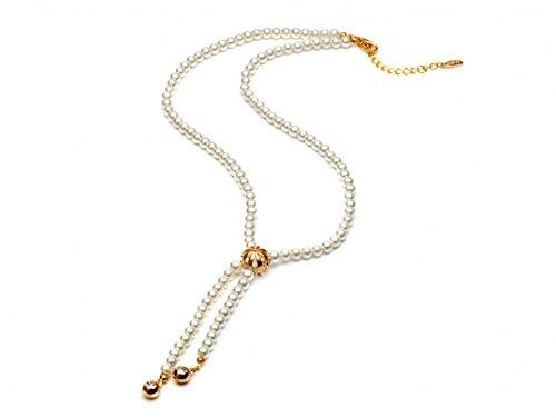 Faux perla lunga corda cristallo oro tono