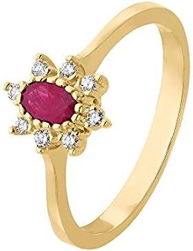 CHRIST Gold Damen-Ring 333er Gelbgold 1 Rubin ca. 0,08 ct. (gold/rot)