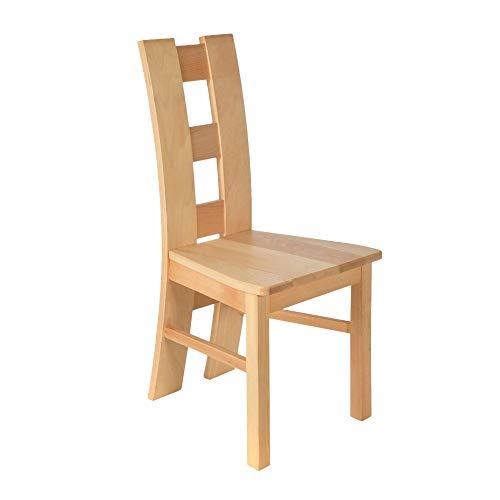 acerto 20096 ROM Stuhl für Esstisch Buche ohne Polster Massivholz Geölt Handarbeit   Landhaus Küchenstuhl ohne Armlehne   Robuster Wohnzimmerstuhl aus Holz   Rustikaler Esszimmerstuhl mit hoher Lehne -