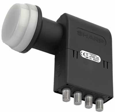 Sharp Universal Quad LNB BS 1 R8 EL 400 A (Feeddurchmesser 40 mm, Wetterschutzkappe) für Analoger und Digitaler Satelliten-Receiver