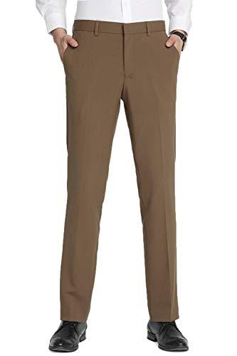 INFLATION Herren Anzughose Straight Leg Stretch Slim Fit Überöße Khaki Hose 34W x 34L - Design Flat Geldbörsen