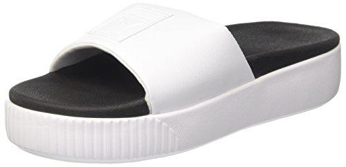 Puma platform slide wns, sandali con zeppa donna, bianco white black, 42 eu
