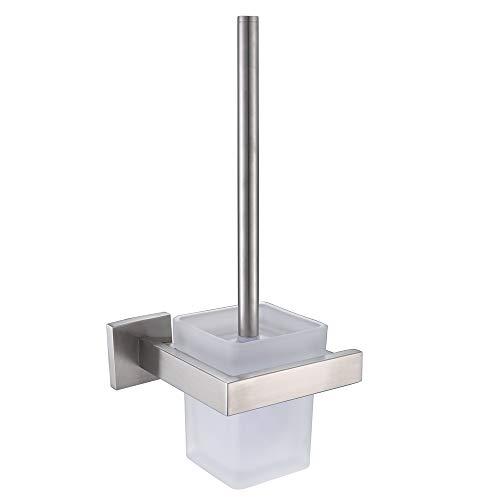 VELIMAX Rostfreier WC-Bürsten SUS304 Edelstahl WC-Garnitur Toilettenbürstenhalter Toilettenbürste Edelstahl & Glas Bad-Serie inkl. Toilettenbürste, Halter und Glasbecher, Gebürstet