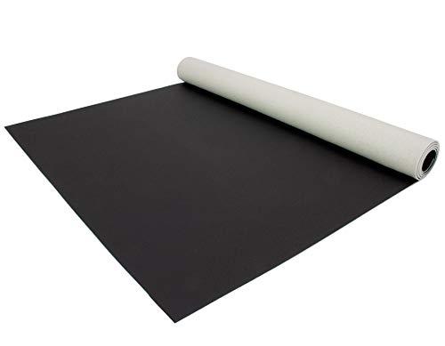 PVC Bodenbelag EXPOTOP Profi Vinylboden - 2,00m x 3,00m, Uni Schwarz PVC Boden Meterware Vinyl, Einfarbig, Schwer Entflammbar