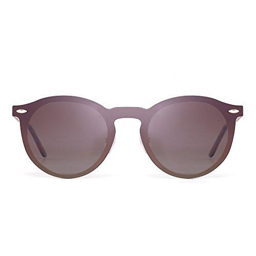 Sonnenbrille Spiegel Polarisieren Rahmenlos Club Runden Randlos Reflektierend UV400(Gold/Polarisierter Braun)