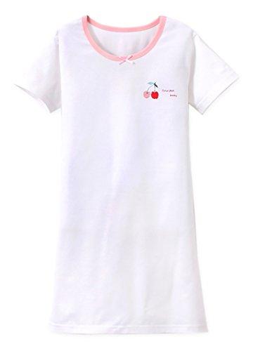 ABClothing Mädchen Prinzessin Nachthemden Kirschdruck Nachthemden Baumwolle Nachtwäsche für 9-10 Jahre (Nachthemd Und Mädchen Puppe)