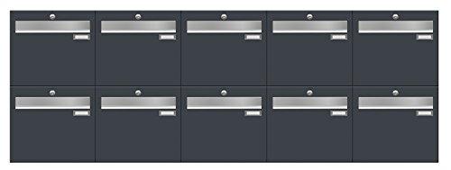 Briefkastenanlage LUIS von Frabox in RAL 7016 anthrazitgrau, mit 10 Briefkästen