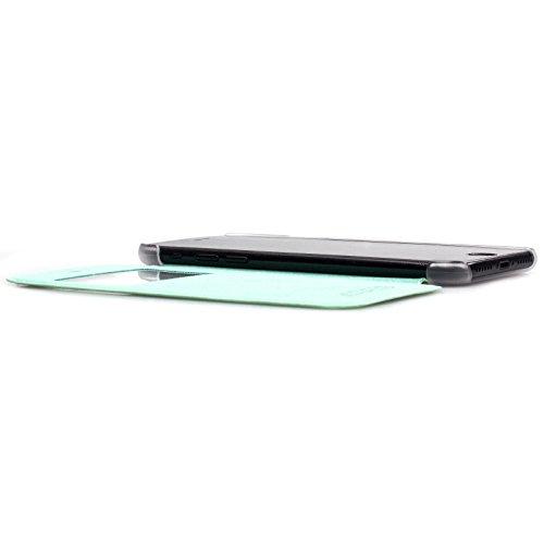 Apple iPhone 7 + PLUS (5.5 Zoll)   iCues Poblano Tasche Peacock Schwarz   Sichtfenster Fenster Extra Leicht sehr Dünn Transparent Klarsichthülle Durchsichtig Klare Klarsicht Leder - Imitat Book Klapph Peacock Mintgrün