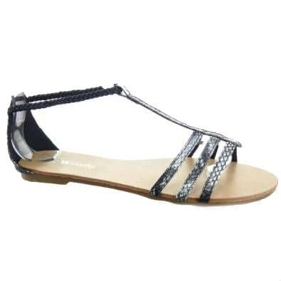 Kickly - Chaussure Mode Sandale Tong Claquettes cheville femmes Peau de serpent Talon bloc 1 CM - Intérieur cuir - Noir T 41 - UK 7.5