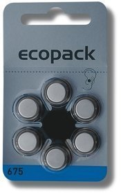 Ecopack ECO675 Knopfzelle ZA 675 Zink-Luft 620 mAh 1.4V 6St. - 675 Zink-luft