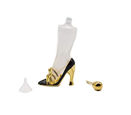Stephanie Imports Leere nachfüllbare Parfümflaschen mit zauberstabförmigen High Heels für deine Tasche Schwarz -