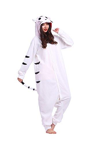 Magicmode Unisex Kigurumi Pyjamas Cartoon Tiere Erwachsene Strampelanzug Anime Hoodie Cosplay Nachtwäsche White Tiger L (Tiger Strampelanzug Kostüm Für Erwachsene)