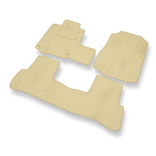 Datuo Premium Fußmatten - 3-teilig - beige - Automatten Velours für Honda CR-V III (2007-2012) (Crv Teppich)