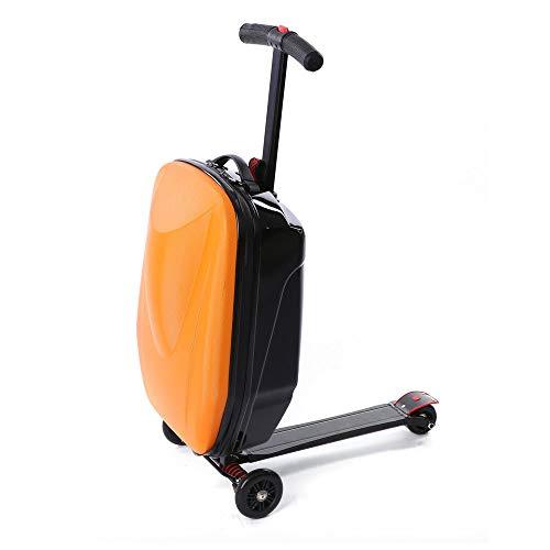 DiLiBee 20'' Reisekoffer Scooter Reisekoffer Hartschalenkoffer Rollergepäck Roller Trolley Handgepäck Rollkoffer Tretroller Koffer (Orange)