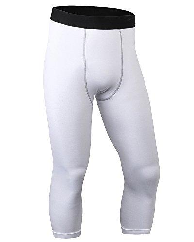 Pantaloni a Compressione Leggings Da Running Asciugatura Rapida Da Uomo Bianco