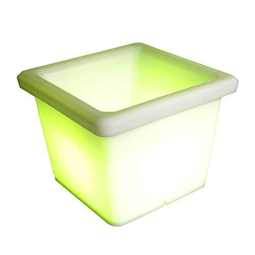 Deluxe LED Blumentopf Blumenkübel eckig 35x35x27 cm multicolor RGB mit Farbwechsel und Fernbedienung aufladbar wasserfest Innen Außen IP65 Gartentopf Sektkühler Vase Deko