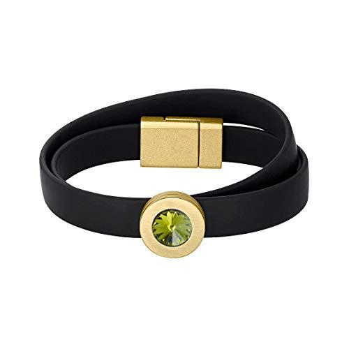 Heideman Armband Damen Colori Band schwarz-Gold 2 Fach aus Edelstahl schwarz und Gold farbend matt Armkette für Frauen mit wechselbaren Swarovski Kristall Oliv Khaki und Weiss oder bunt -