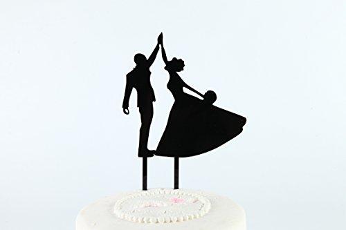 Sugar and Cakes Cake Topper Torte Cupcake Deko Brautpaar Hochzeit Pärchen Tortenstecker Tortenaufsatz Muffin Fondant Dekoration Acryl schwarz CT8 - Fondant Topper Cake