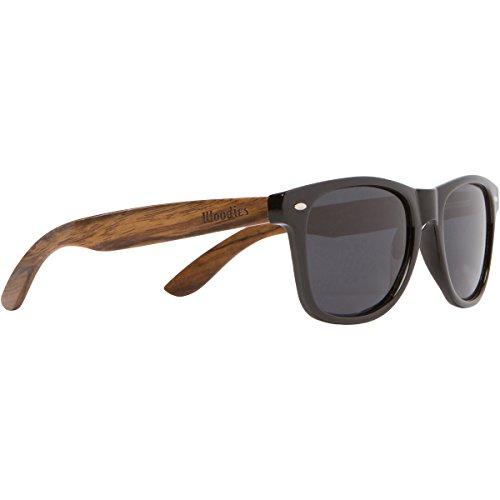 Gafas de Sol Polarizadas Negras de Madera para Hombre y Mujer de Woodies | Lentes Oscuros con Protección UV y Patillas de Nogal Auténtico | Estilo Vintage - Wayfarer | Accesorios con Estuche y Más