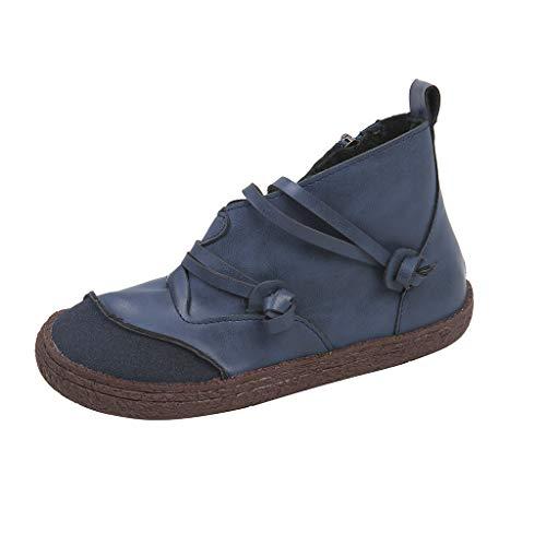 AMUSTER Damen Vintage Leder Low-top Schnürschuhe Schuhe Damenmode Retro Leder Reißverschluss Kurze Stiefeletten Flache Schuhe -