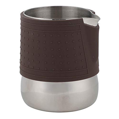 Jeffergarden Kaffee Wein Tasse Edelstahl Kaffeetasse Aufschäumen Milch Hitzebeständig Latte Pitcher Krug mit Lederbezug für Home Office