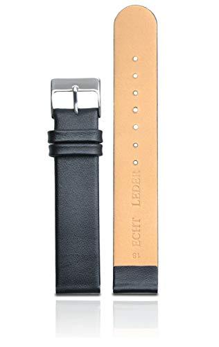 Clarkwatches Uhrenarmband 20mm Leder schwarz glatt für Damen und Herren