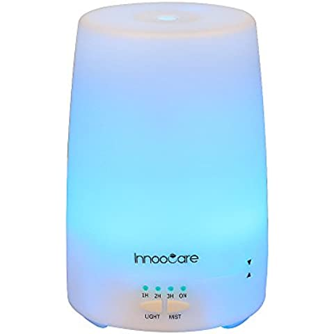 InnooCare Humidificador Ultrasónico Aromaterapia 150ml Difusor de Aceites Esenciales Vapor Frío Luz LED con 7 Colores Elegibles Purificar y Humidificar Aire en