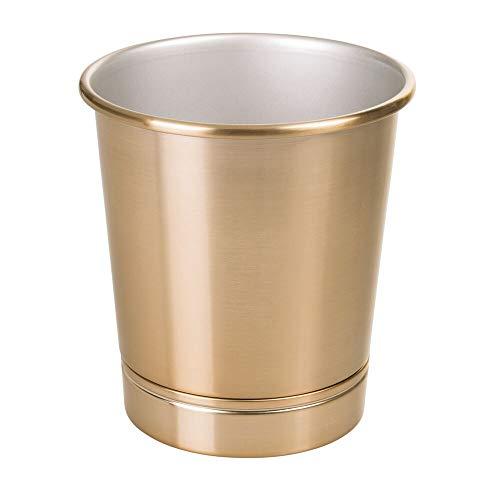 mDesign Dekorative rund, Metall Stahl Kleine Trash können Abfalleimer Organizer, Garbage Container Mülleimer für Badezimmer, Küche, Home Offices-Soft Messing - Stahl-schrank-container