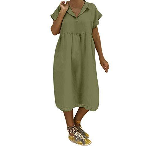 LOPILY Lose Tunika Blusenkleider Damen Sommer Lässige Spitzensaum V-Ausschnitt Kleider Strandkleid Einfarbig Einfach Bequem Freizeit Knielang Sommerkleider Übergröße(Grün,EU-42/CN-XL)