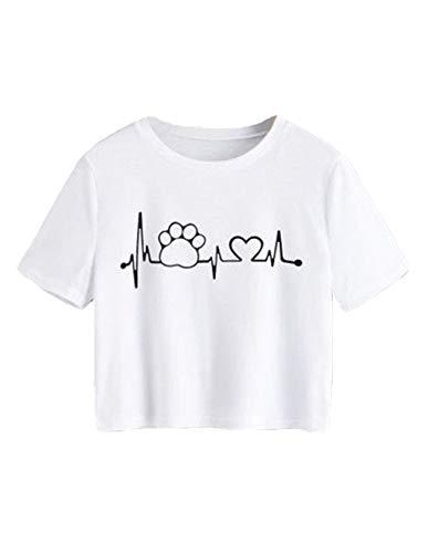 Siennaa Top Damen Sommer Shirt, Teenager Mädchen Herzschlag Hund Fußabdruck Bauchfrei Oberteil Herz Druck Sport Casual Blusen Shirt Frauen Kurzarm T-Shirts Kurzes Tank Tops Pullover Sale (Weiß,S)