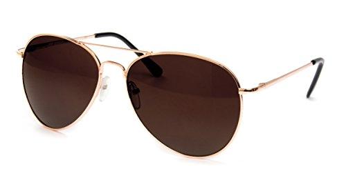 Premium Edel Pilotenbrille Fliegerbrille Sonnenbrille Nerd Nerdbrille Brille Classic Look UV Schutz 400 Federscharnier - Gold Braun Dunkle Glässer