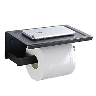 AiHom Toilettenpapier Halter schwarz Toilettenpapierhalter 2in1 Wandhalter mit Ablage WC Rollenhalter Papierhalter Regal WC Klopapierhalter Handyhalter