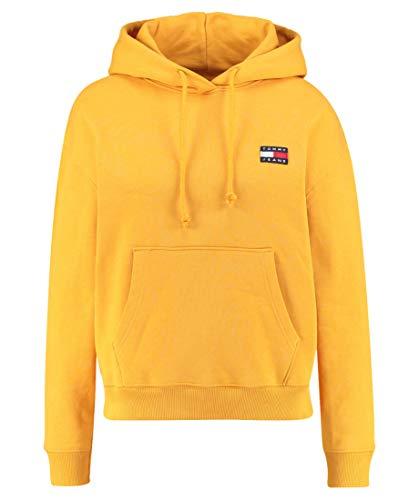 Tommy Jeans Damen Sweatshirt mit Kapuze Tommy Badge Hoodie gelb (31) XL