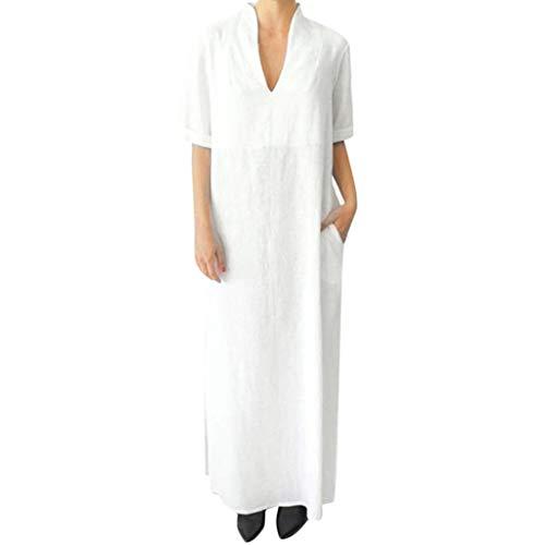 Rosennie Damen Kleider Elegant Sommerkleid Casual Plus Size Lose Maxi Kleid Baumwolle Kleid Sommer Kurzarm V-Ausschnitt Leinenkleid A-Line Lang Kleid Für Frauen Einfarbig Strandkleid