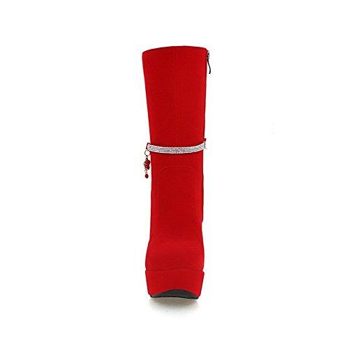 AgooLar Damen Reißverschluss Rund Zehe Hoher Absatz Mitte-Spitze Stiefel mit Anhänger Rot