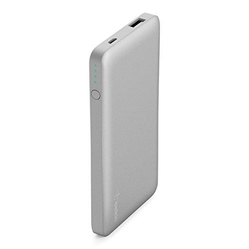 Belkin - F7U019btSLV - Batterie Externe PocketPower Bank 5000mAh (Sécurité Certifiée) pour iPhone X/ 8/ 7, iPad, Samsung Galaxy S9/ S8/ S7 – Argent