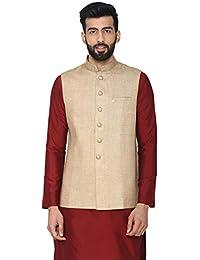 Manyavar Ethnic Nehru Jacket in Brocade Blue