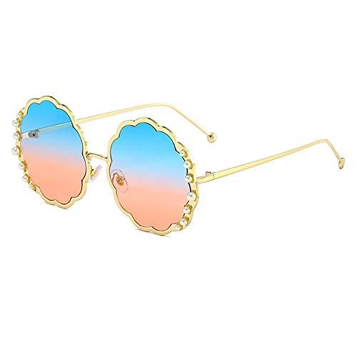 HQMGLASSES 2019 Runde Sonnenbrille mit Perlenrahmen für Damen und runde Gläser mit Verlaufsglas UV400, geeignet für Ausgeh- und Straßenaufnahmen,Goldframeblue/pinklens