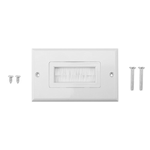 Anti-Dust Brushplate Cable Wall Plate Port White Brush Strip Wallplate Insert Outlet Cable Faceplate Mount Multimedia Panel ( Style : Single gang ) Mount Wall Plate