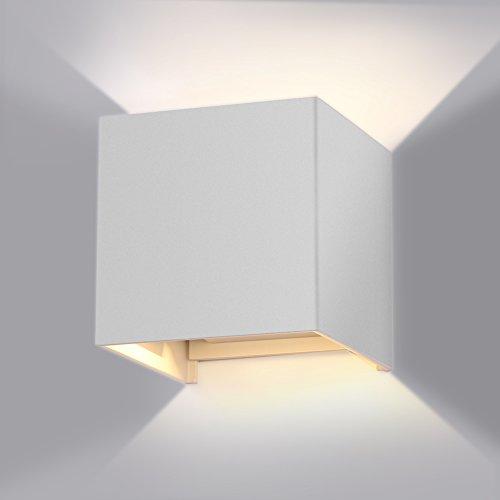 GHB 7W LED Wandleuchte Wandlampe mit einstellbar Abstrahlwinkel Design Wasserdichte IP 65 LED Wandbeleuchtung 2700K Warmweiß [Energieklasse A+]