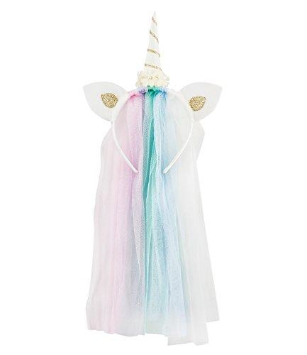 SIX Unicorn-Haarreif: Verspielter Haarschmuck, Einhorn/Blüten, mit Schleier, ideal für JGA/Fasching/Kostüm-Partys, fester Halt, Länge ca. 32 (315-597)