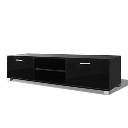 Festnight mobile porta tv moderno bianco/nero laccato lucido 120x40,3x34,7 cm/140x40,3x34,7 cm … (nero, 140 x 40,3 x 34,7 cm)